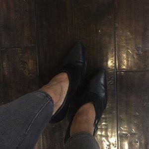 Heels in suede leather combination